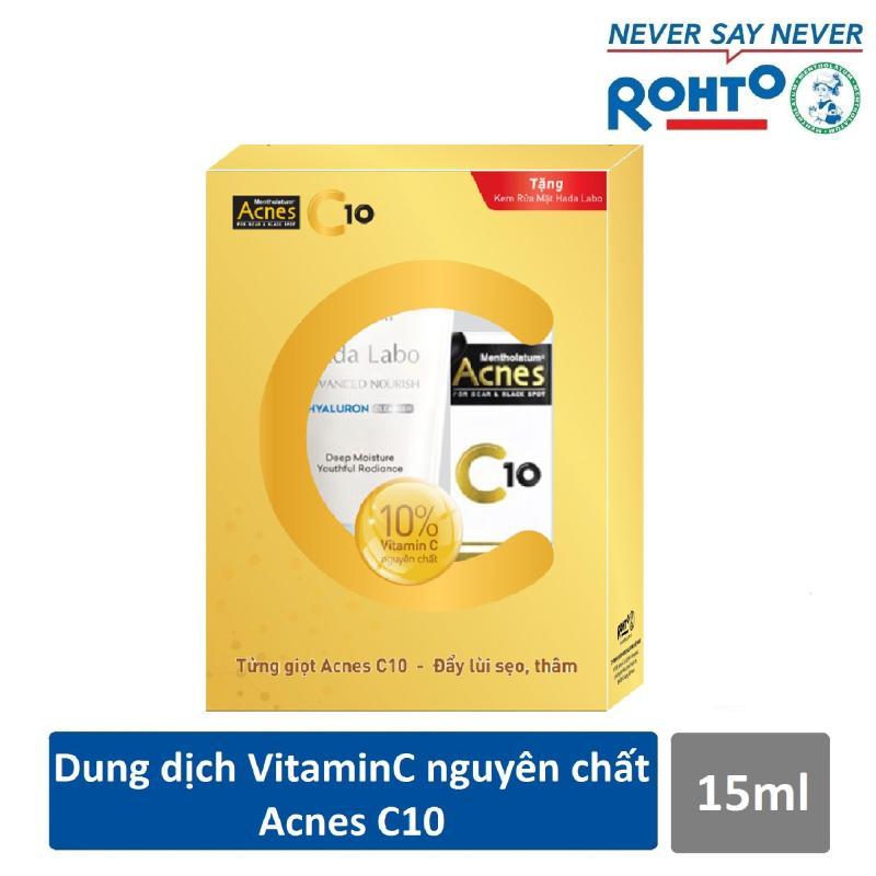 Dung dịch Vitamin C dưỡng da Acnes C10 15ml + Tặng Kem rửa mặt Hada Labo 80g