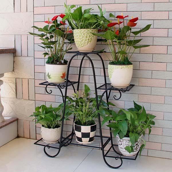 Hình ảnh Kệ sắt để chậu hoa , cây cảnh – 4 tầng 6 chậu