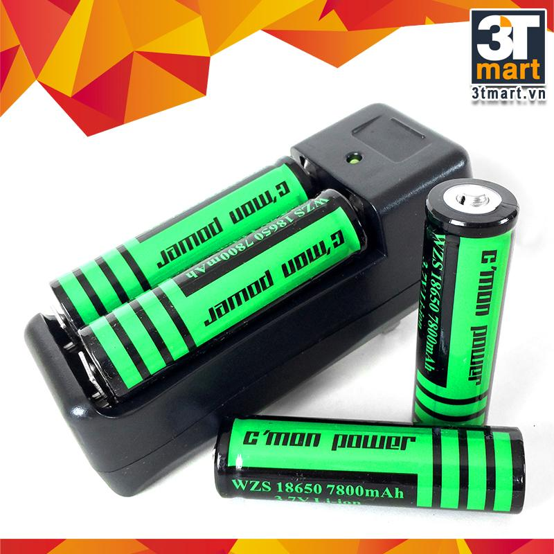 Bộ sạc đôi và 4 pin sạc li-ion 18650 CMON POWER 7800mAh 3.7V (dùng cho đèn pin - xanh lá)