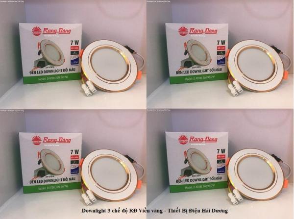 Bộ 4 Đèn LED Downlight 3 chế độ Rạng Đông D AT08L ĐM 90/7W (Viền Trắng/Viền Vàng)