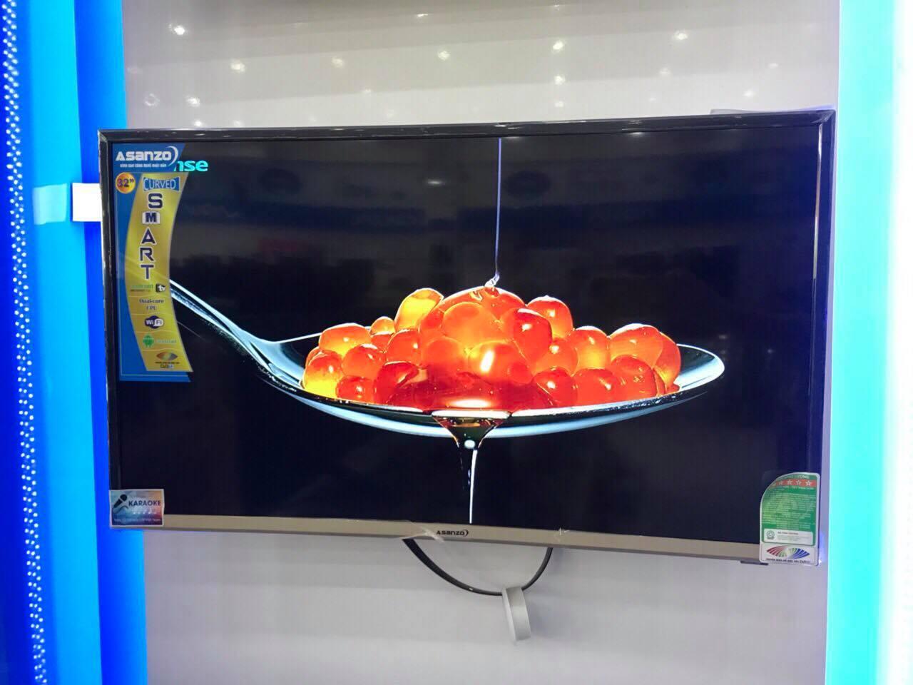 Smart Tivi Asanzo màn hình cong 32 inch HD Voice Search - Model 32CV6600 Tìm kiếm bằng giọng nói, Tích hợp DVB-T2, Wifi