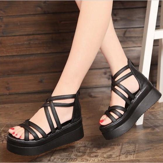 Giày Sandal đế xuồng phong cách Hàn Quốc - SS11