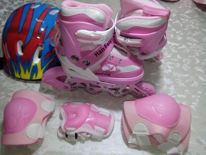Phân phối Giày trượt patin màu hồng size M (Từ 6-10 tuổi 35-38) có đèn led phát sáng ở bánh xe + Tặng bộ bảo hộ, nón bảo hiểm