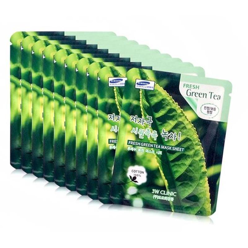 Bộ 10 gói mặt nạ Trà Xanh 3W Clinic Fresh Green Tea Mask Sheet 23mlx10