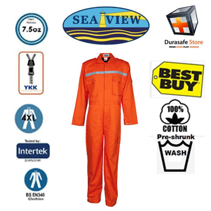 Bộ áo liền quần bảo hộ 100% cotton SEAVIEW™ Zip Màu Cam Size L