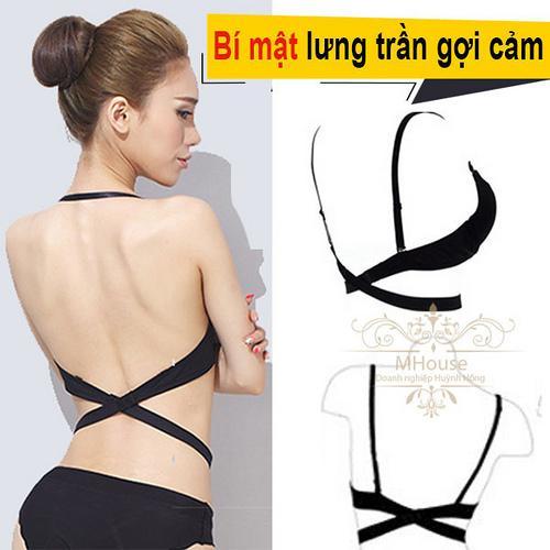 Combo 4 dây nối dây áo ngực hở lưng (đen,kem)