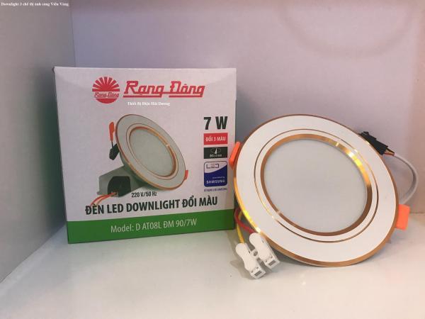 Đèn LED Downlight 3 chế độ Rạng Đông D AT08L ĐM 90/7W (Viền Trắng/Viền Vàng)