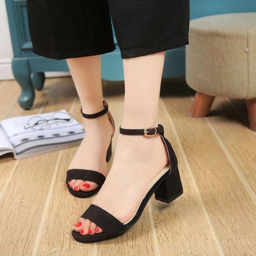 Dép Sandal cao gót 5 phân da lộn quai ngang đế vuông   dép nữ   dép sandal nữ   dép nữ dễ thương-GCG02 giá rẻ