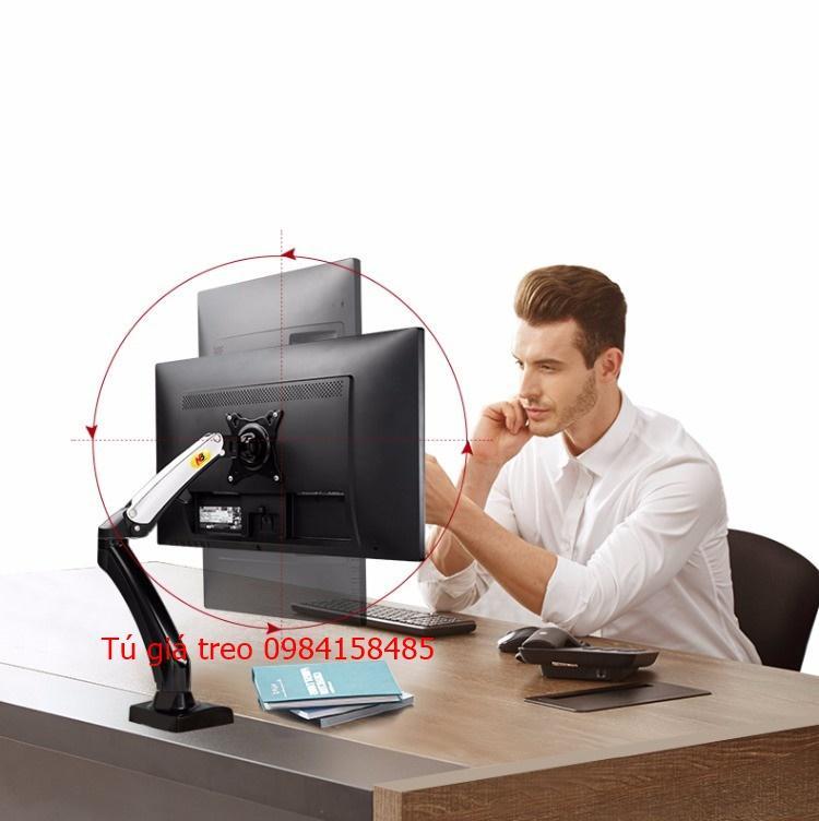 Hình ảnh Giá đỡ màn hình máy tính nhập khẩu 1 tay F100 17-27 inch tích hợp 2 cổng USB