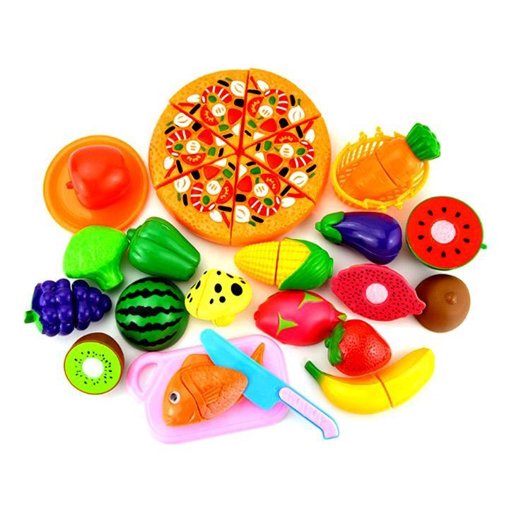 Bộ Đồ Chơi Cắt Ghép Hoa Quả Bánh Pizza Cho Bé 24 Chi Tiết Mẫu Mới By Kidshouse.