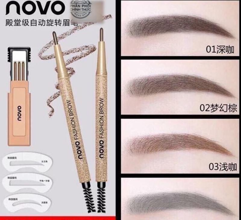Combo bộ khuân kẻ mày Novo-kèm bút và ruột kẻ mày( đủ 4 màu lựa chọn) nhập khẩu