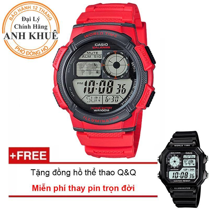 Đồng hồ nam dây nhựa Casio Anh Khuê AE-1000W-4AVDF + Tặng đồng hồ thể thao Q&Q bán chạy