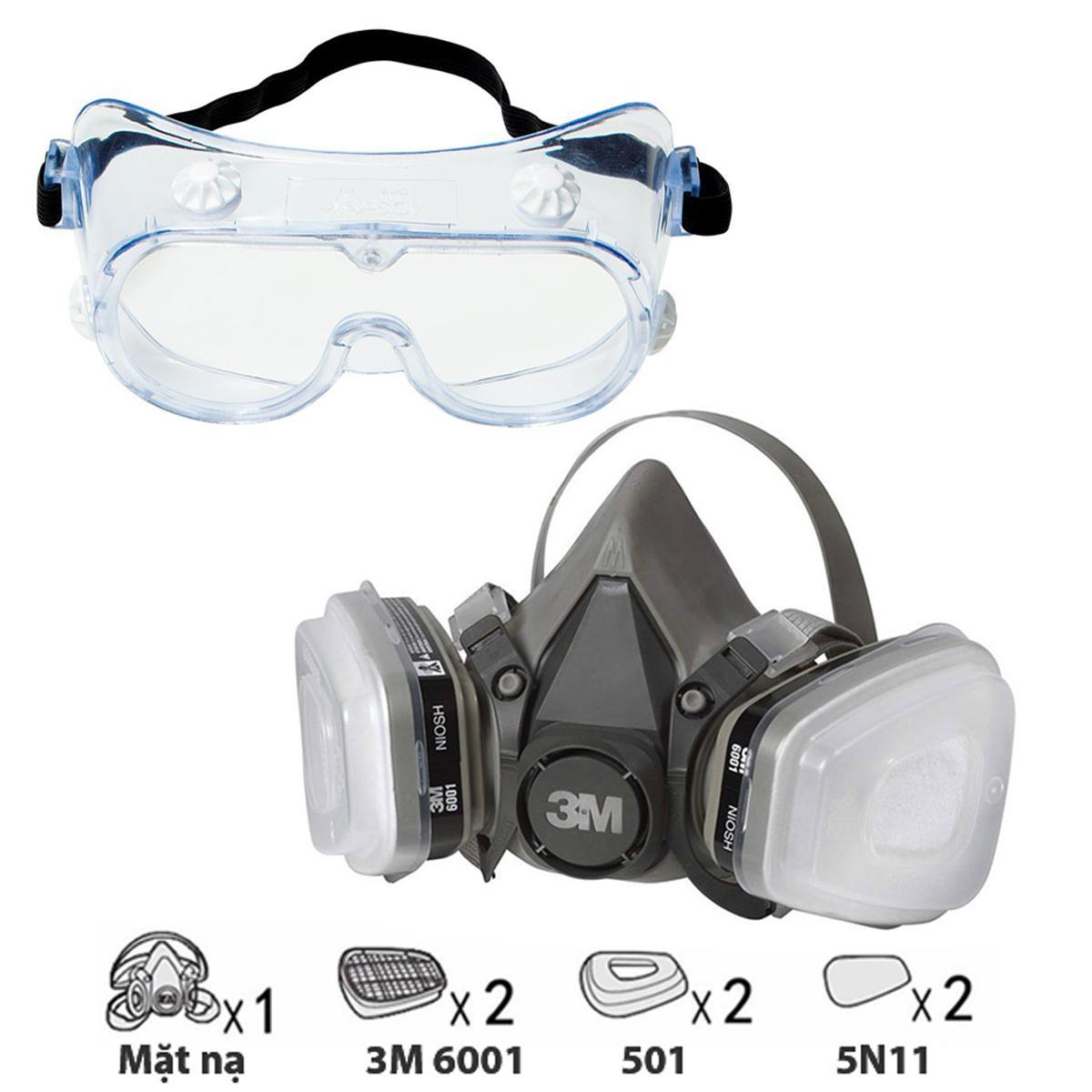 Bộ mặt nạ phòng độc 3M 6200 + Phin lọc 3M 6001CN kèm Kính 3M 334 chống hóa chất, phun sơn, Phun thuốc sâu  Mặt nạ chống độc  Mặt nạ phòng độc nửa mặt