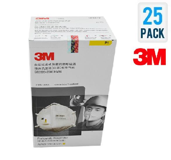 Bộ 25 cái khẩu trang chống bụi 3M 9001V có van lọc mùi hôi, lọc độc, kháng khuẩn, chống bụi siêu mịn