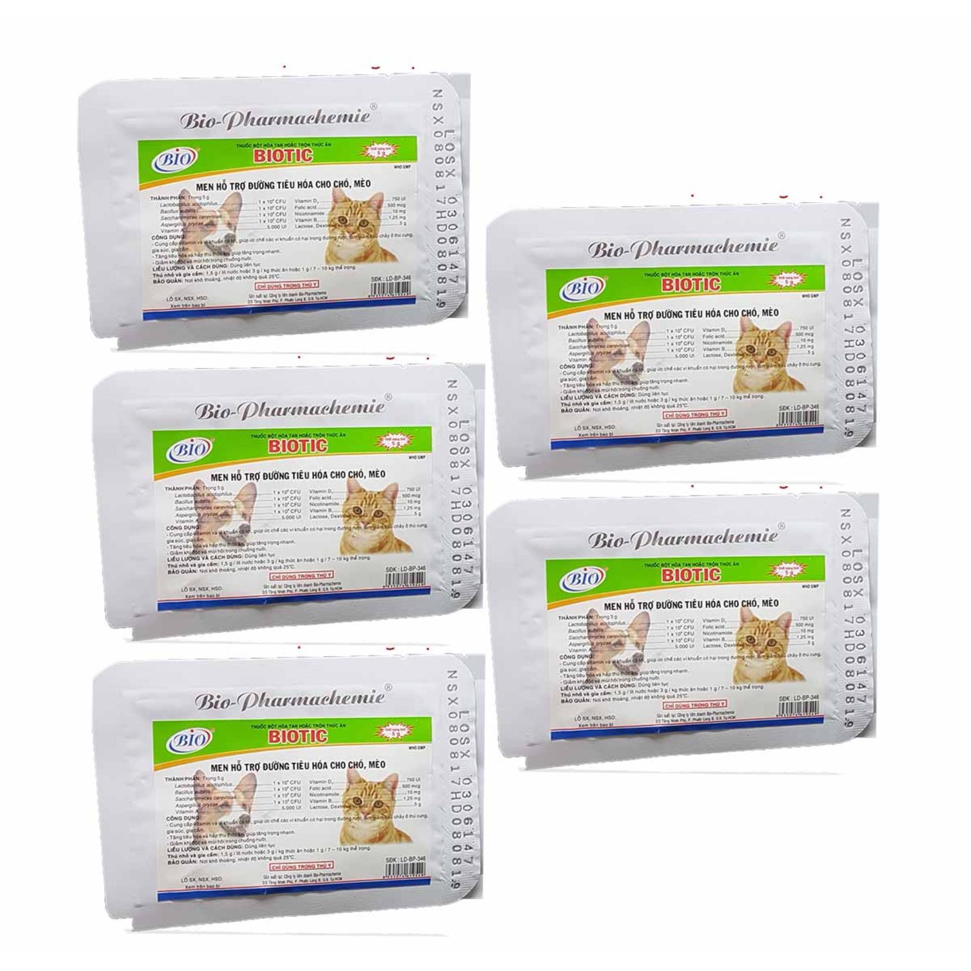 Men tiêu hóa cho chó mèo hamster - Men cho thú cưng - 5 Gói Biotic Nhật Bản