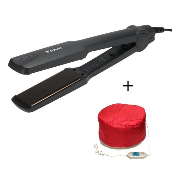 Máy là tóc bản to 4 mức nhiệt KM-329 (Tặng mũ hấp tóc cá nhân) giá rẻ