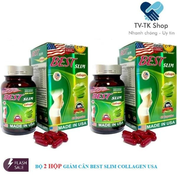 Combo 2 Hộp Viên Uống Giảm Cân Best Slim Collagen USA (Lọ 40 Viên) nhập khẩu