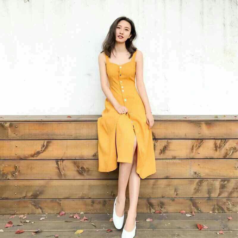 Đầm đi biển hai dây màu vàng Yellow Maxi Dress