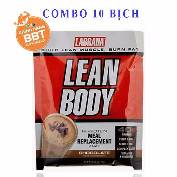 Combo 10 bịch LeanBody hương socola của Labrada Bữa Ăn Thay Thế Thông Minh hỗ trợ giảm cân đốt mỡ - Chính hãng BBT nhập khẩu
