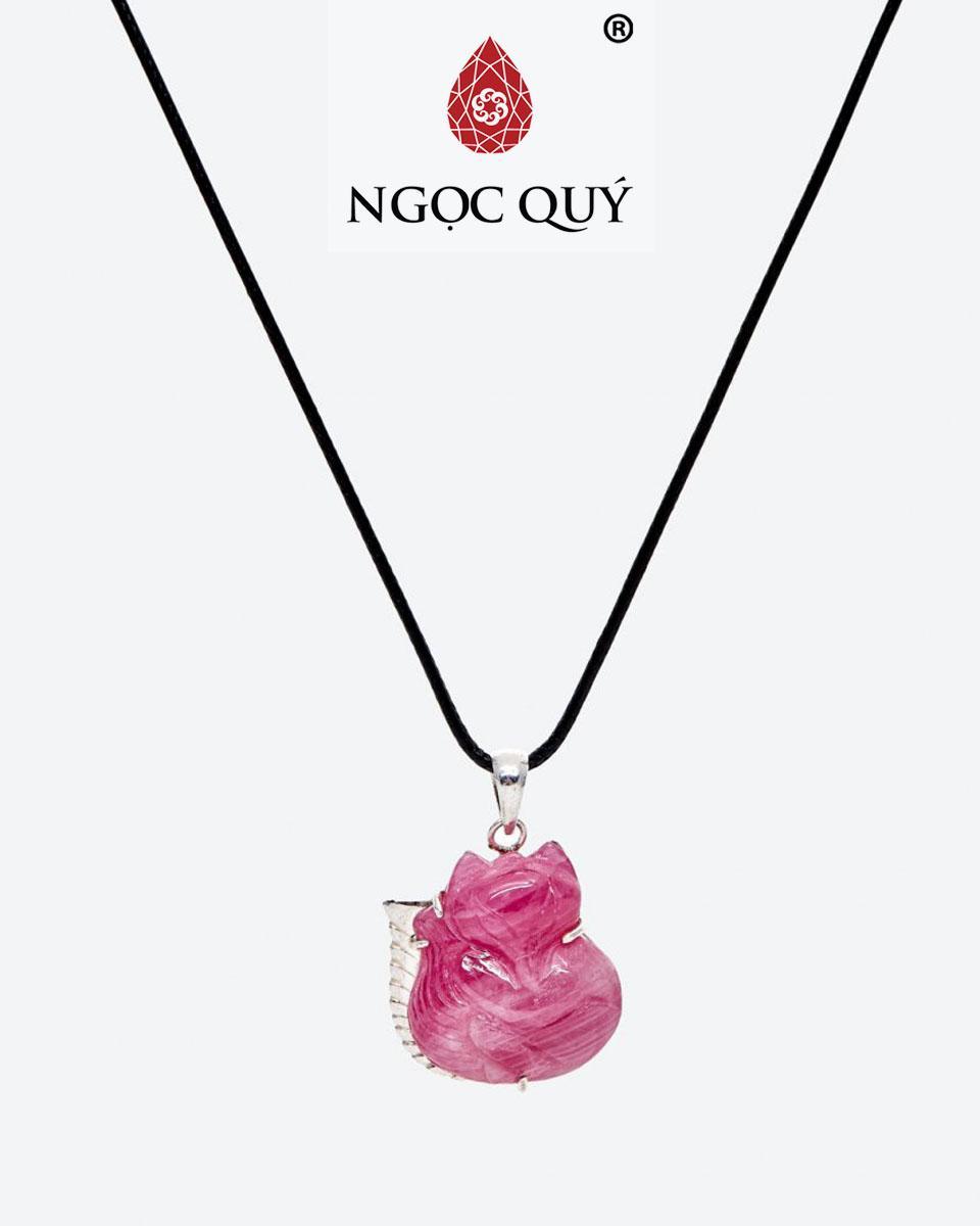 Mặt Dây Chuyền Đá Ruby Hồ Ly 9 Đuôi Bọc Bạc Mệnh Hoả, Thổ (màu hồng) - Ngọc Quý Gemstones