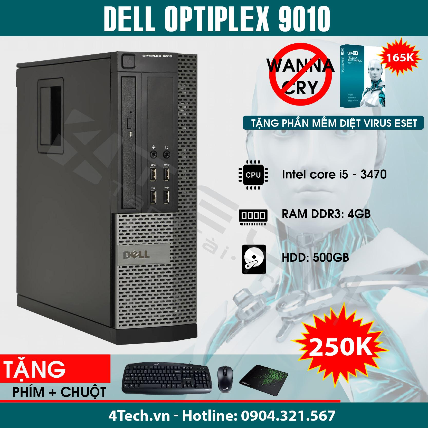 Máy Tính Đồng Bộ Dell Optiplex 9010, Core i5, RAM 4GB, HDD 500GB.