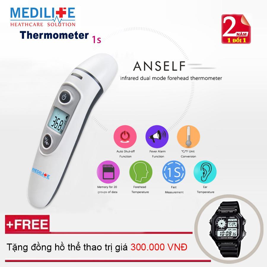 Nhiệt kế điện tử hồng ngoại đo tai và trán Medilife - IFR600 + Tặng đồng hồ thể thao bán chạy