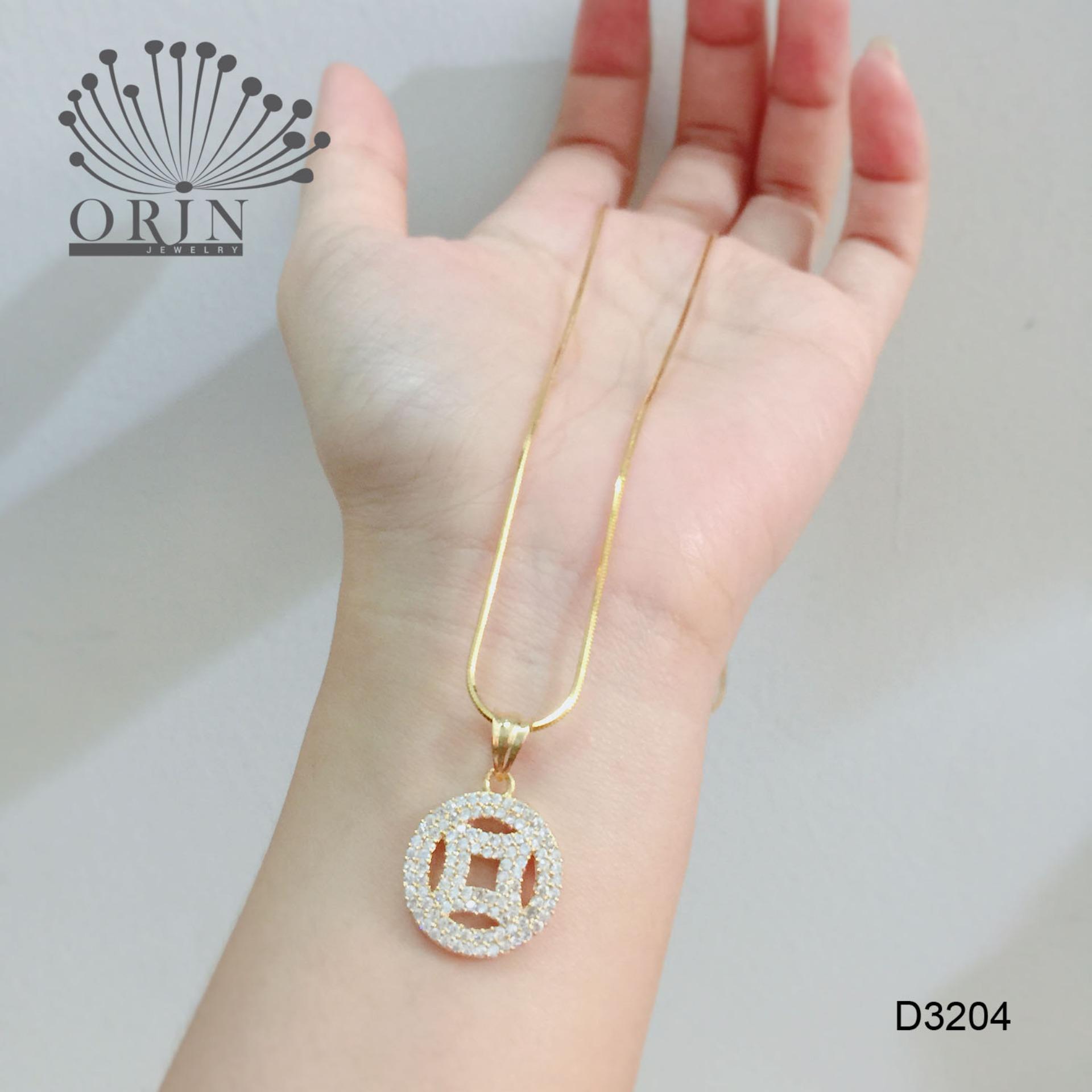 Dây chuyền nữ dạng mì mặt đồng hào đính đá thời trang Orin D3204 đẳng cấp
