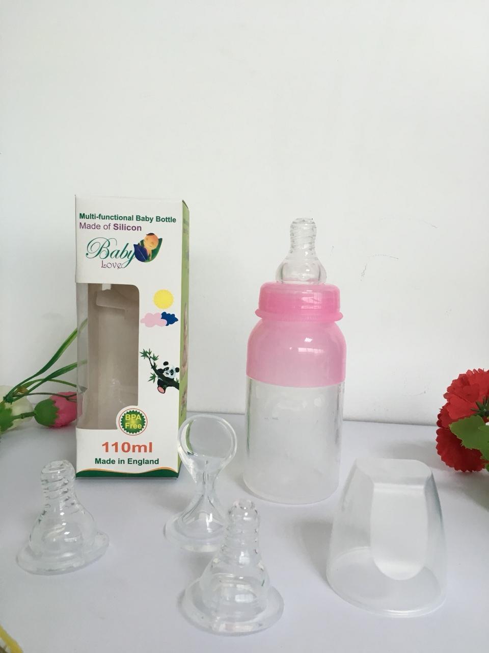 Bình sữa silicol Baby Love 2 chức năng 110ml(bao gồm 01 bình+ 2 núm vú+ 1 thìa+ 1 nắp)
