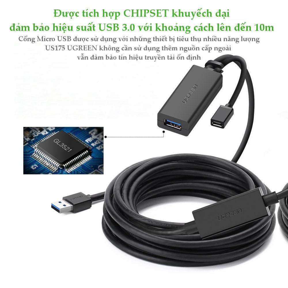 Dây USB 3.0 nối dài active dài 5-10m UGREEN US175