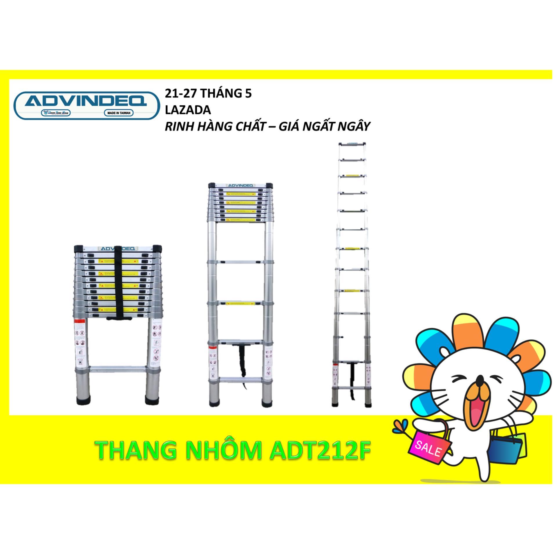 (3.8m + Đai nhôm) Thang nhôm rút gọn đơn Advindeq ADT212F