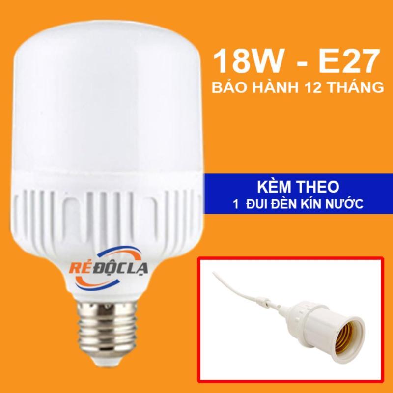Bóng đèn Led trụ 18W ( Ánh sáng trắng) + Đui đèn kín nước- LED SHOP