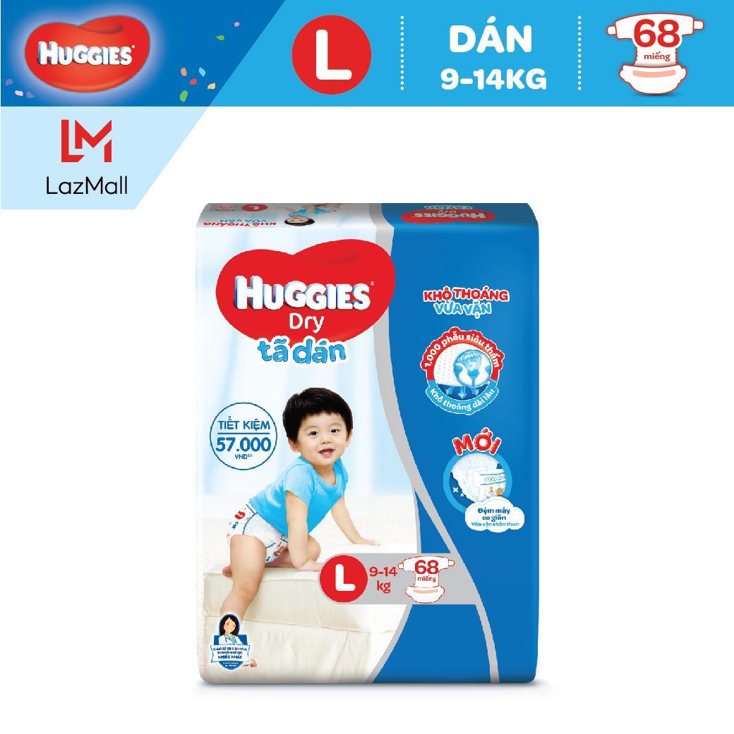 Tã/Bỉm Dán Huggies Dry Super Jumbo L68 (Đệm Mây Co Giãn) - Gói 68 Miếng (Cho Bé 8Kg-13Kg)