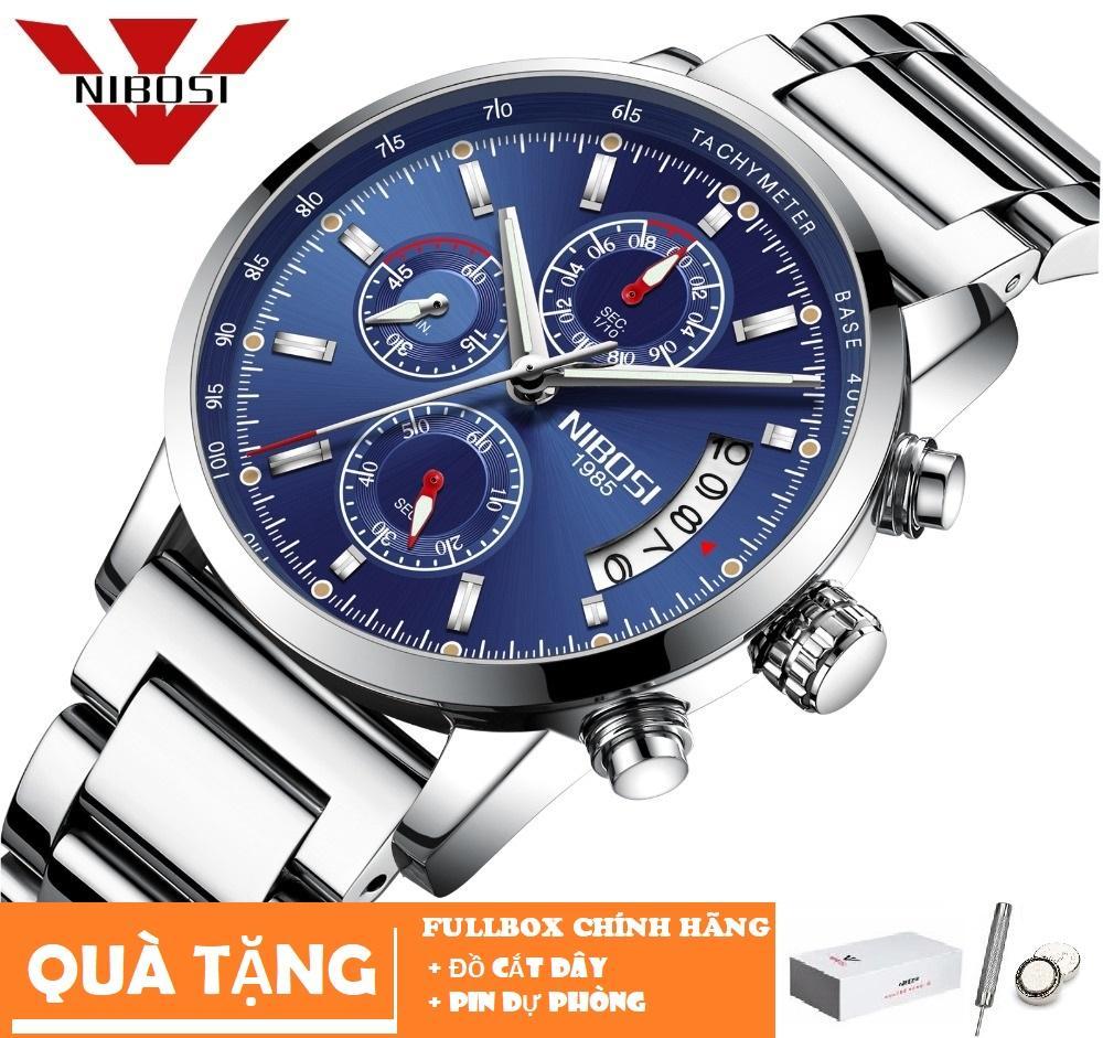 Đồng hồ nam dây thép đúc không gỉ Nibosi 2327 6 kim quay (Fullbox tặng đụng cụ cắt dây và pin) bán chạy
