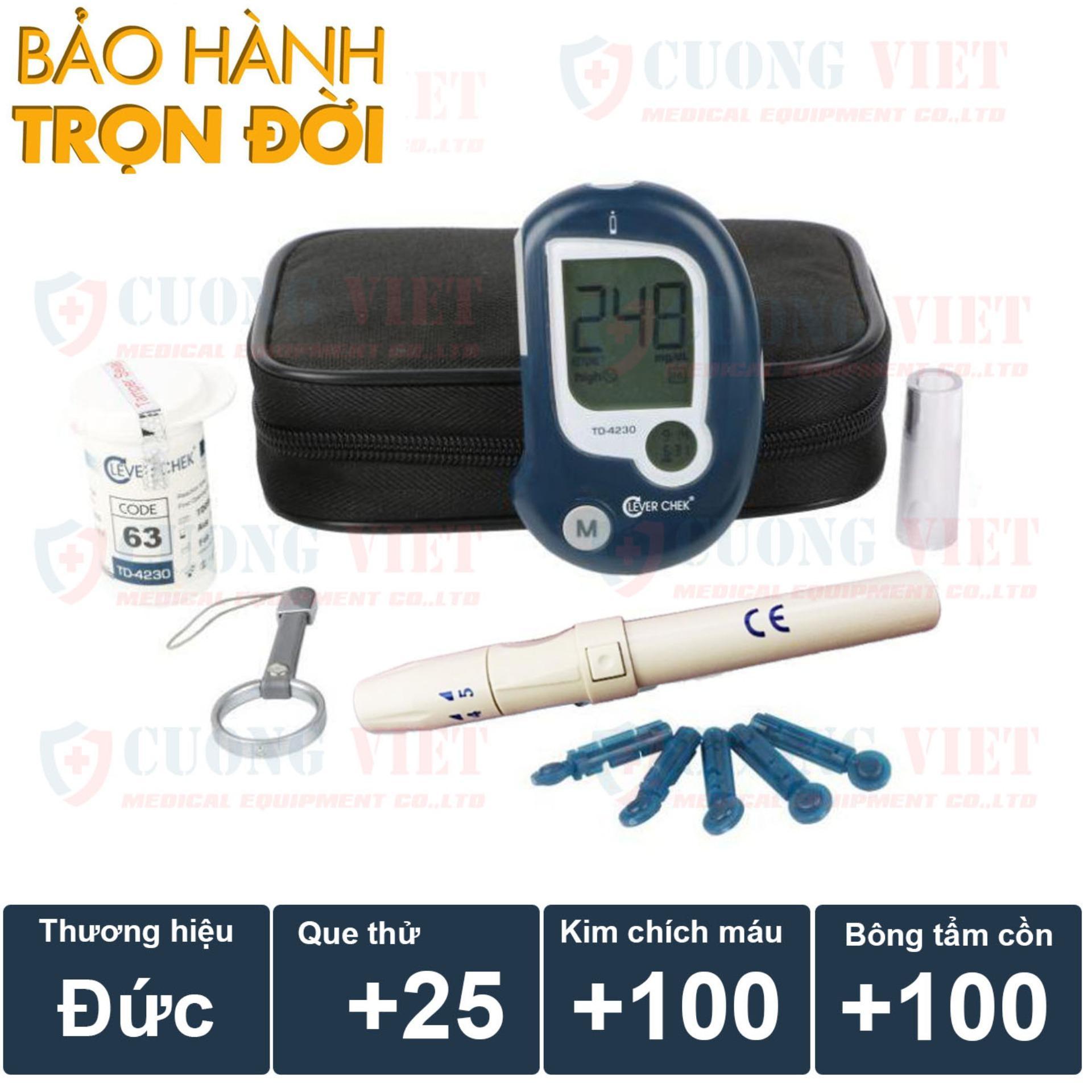 Máy đo đường huyết Clever Chek TD 4230 Đức Tặng kèm 25 que thử