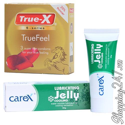 Bộ 1 hộp bao cao su cực siêu mỏng TrueFeel và 1 gel bôi trơn CareX Warming 60g