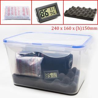 Combo hộp chống ẩm và ẩm kế, 100gram hạt hút ẩm xanh cho máy ảnh, máy quay phim - dung tích 5 lít (tặng mút xốp lót hộp) - PHUKIEN2T-Q01110 thumbnail