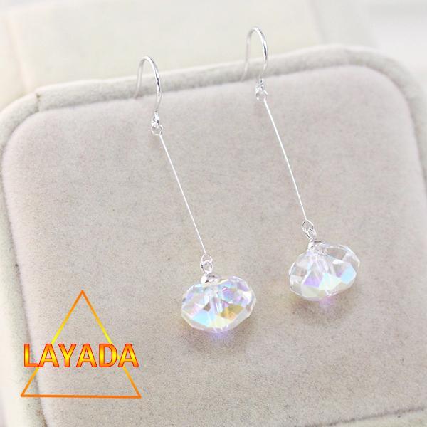 Bông tai bạc pha lê swarovki dáng dài hạt tròn dẹp B69095 - LAYADA