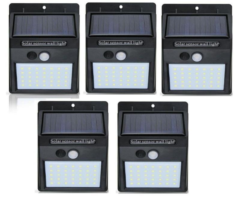 Bộ 5 Đèn năng lượng mặt trời Solar 35 LED 3 chế độ sáng (Đen)
