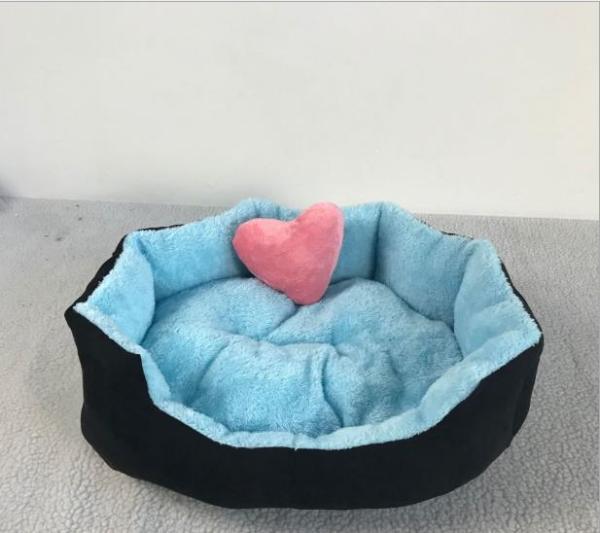 nệm giường ổ nằm cho chó mèo bông cao cấp 40x50x15 ( màu trong xanh ngoài đen )