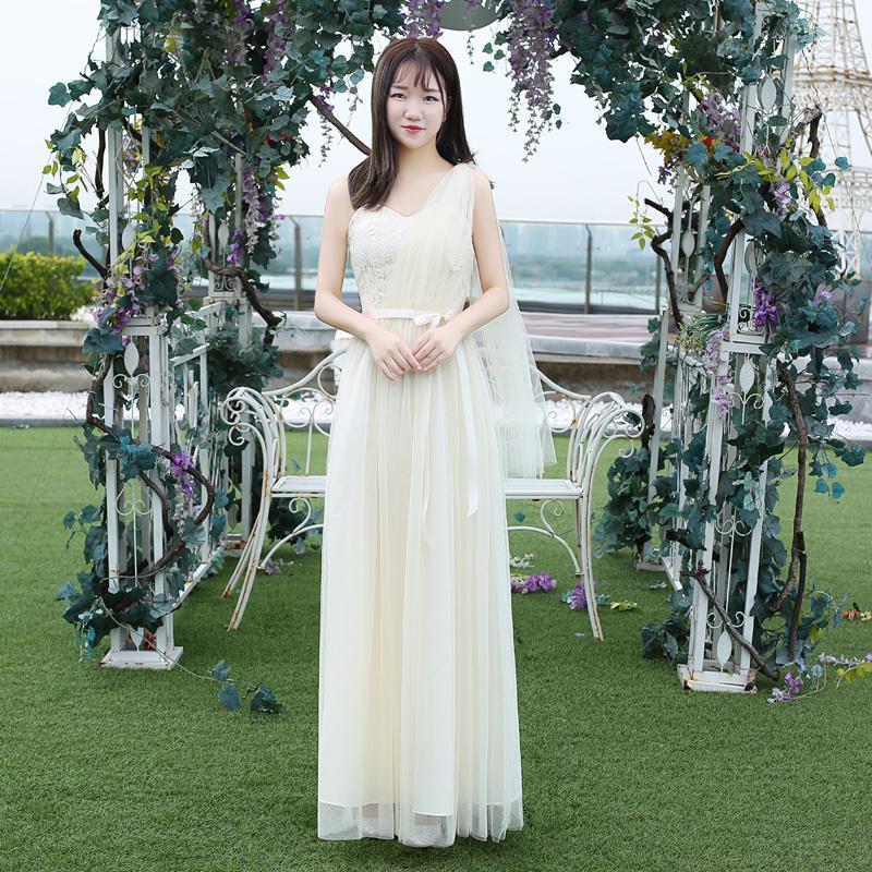 Phù Dâu Lễ Phục Của Phụ Nữ 2020 Kiểu Mùa Thu Đông Phiên Bản Hàn Quốc Chị Em Nhóm Váy Phù Dâu Dáng Dài Màu Xám Tôn Dáng Trễ Vai Đầm