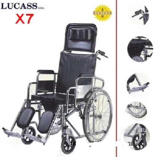 Xe lăn đa năng bô + ngả + 2 tay phanh dành cho người khuyết tật X7/ X7A