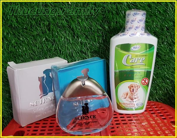 Combo sữa tắm trị ve rận BIO care + nước hoa cao cấp SCIENCE cho CHÓ MÈO.