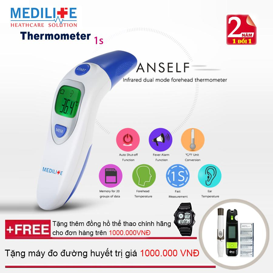 Nhiệt kế điện tử hồng ngoại đo tai và trán Medilife IT - 121 + Máy đo đường huyết Uright TD - 4265 + Mua từ 2 đơn trở lên tặng thêm đồng hồ thể thao (OEM) nhập khẩu