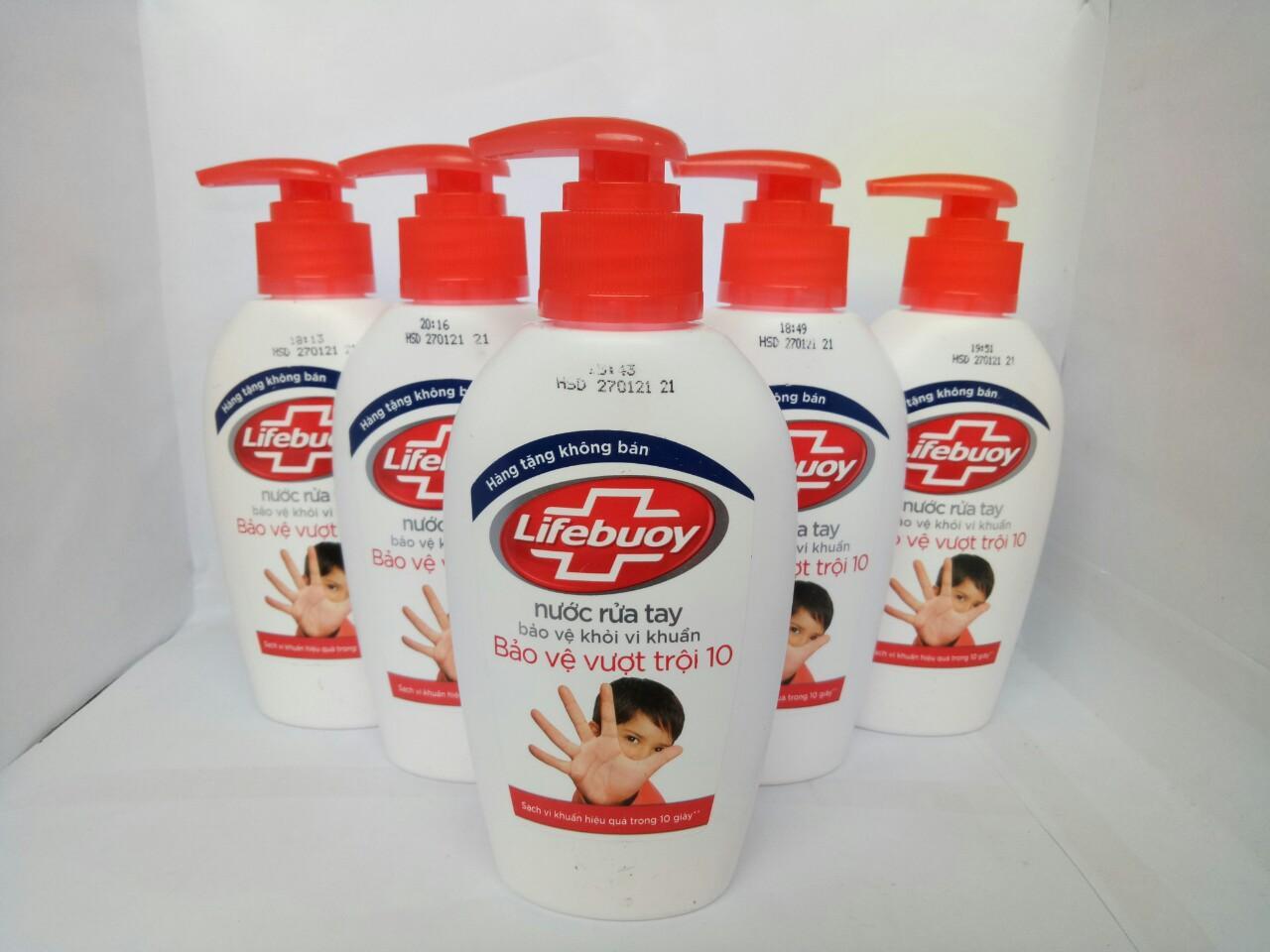 Combo 5 chai Nước Rửa Tay Lifebuoy Bảo Vệ Vượt Trội120g (hàng tặng) + tặng 1 túi đựng mỹ phẩm
