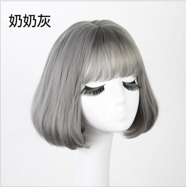 [TẶNG KÈM LƯỚI] Tóc giả nữ nguyên đầu sợi tơ Hàn Quốc CÓ DA ĐẦU - TG74 ( MÀU XÁM KHÓI ) cao cấp
