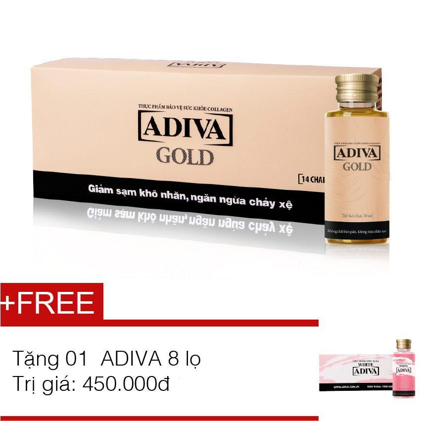 Dưỡng chất uống làm đẹp Collagen Adiva Gold 14 chai x 30ml + tặng dưỡng chất uống làm đẹp ADIVA White 8 chaix 30ml