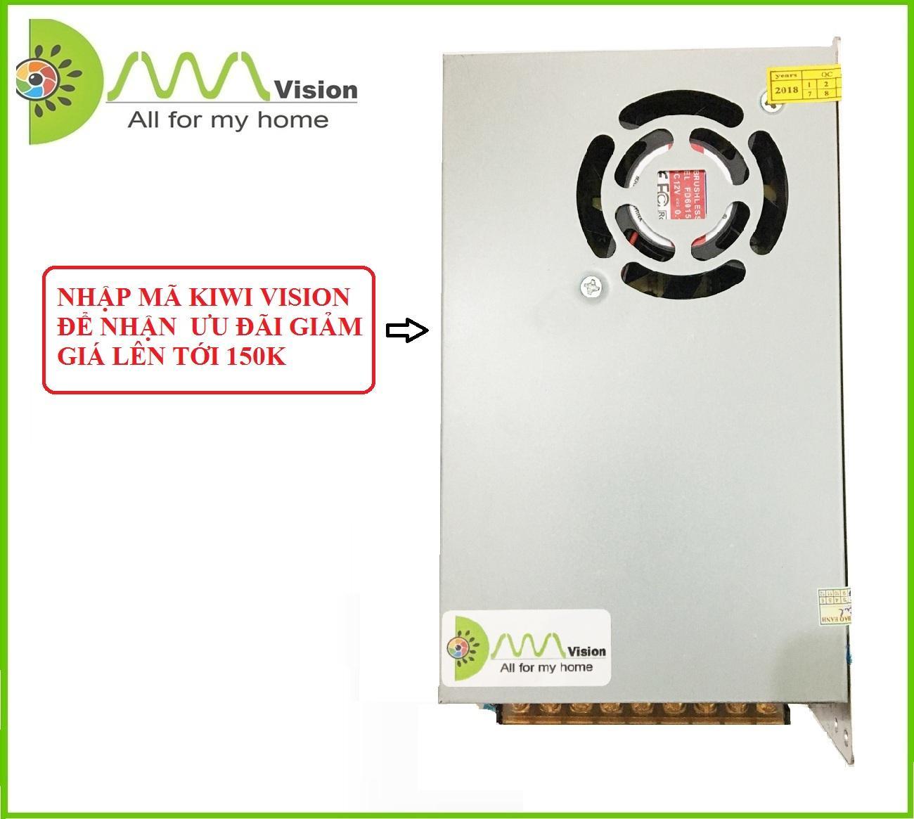 Nguồn tổng 12V-20A (Có quạt) KIWI VISION dùng cho đèn led hoặc camera (Bạc)
