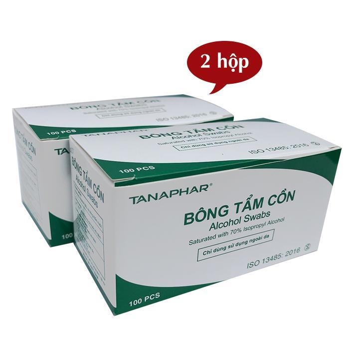 Combo 2 Hộp bông tẩm cồn ALCOHOL SWABS sát khuẩn, sát trùng (100 miếng/ hộp x 2 hộp)