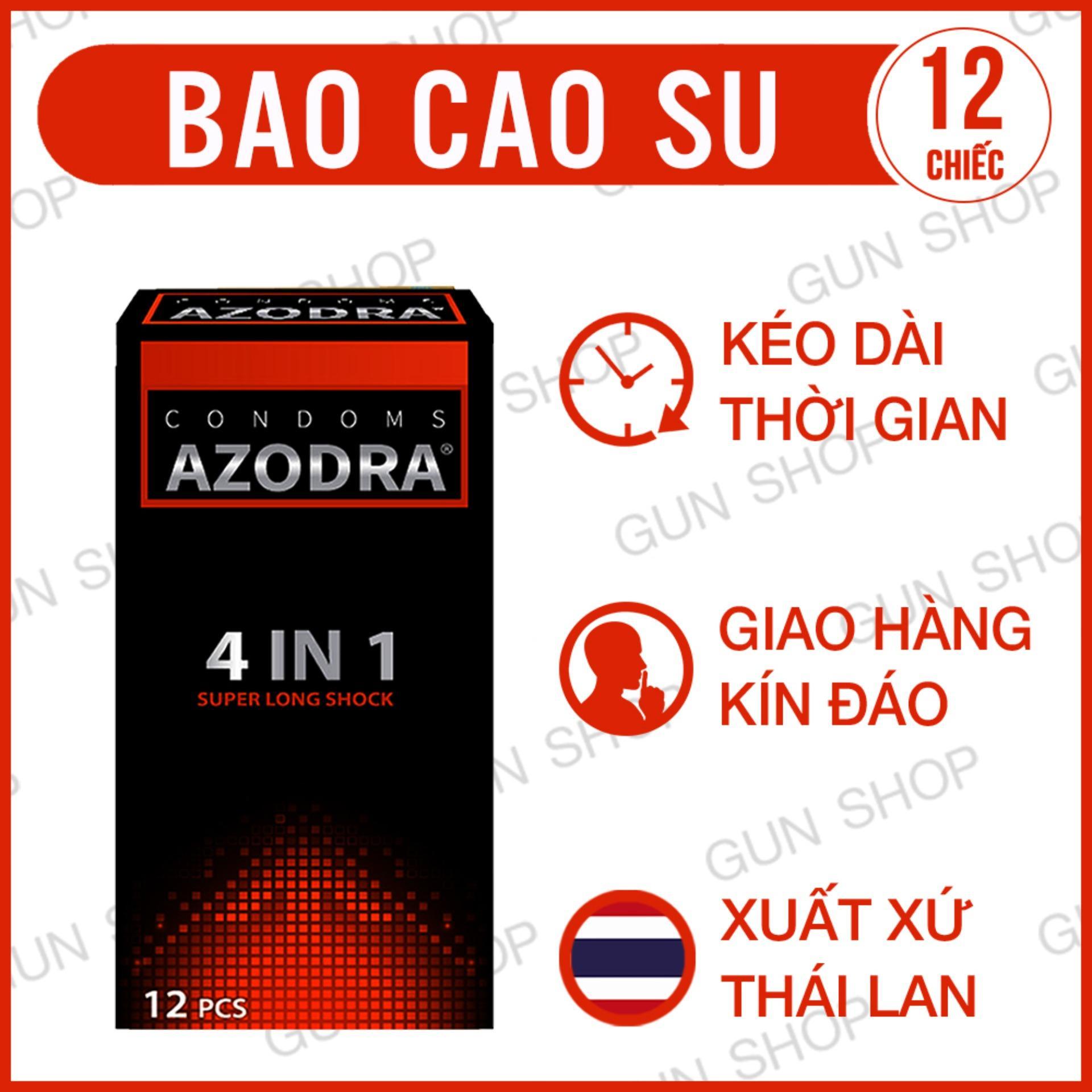Hình ảnh Bao Cao Su Azodra Tổng Hợp Gân, Gai, Mỏng, Kéo Dài Thời Gian Quan Hệ ( hộp 12 chiếc ) - [ Gunshop-BCS01 ]