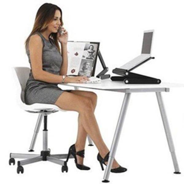 Bảng giá Bàn gấp gọn để laptop tùy chỉnh 360 độ T8 - Bàn xoay chất liệu nhôm cao cấp -  2 quạt tản nhiệt , mặt bàn có quạt tản nhiệt, giúp máy laptop không bị nóng. Phong Vũ